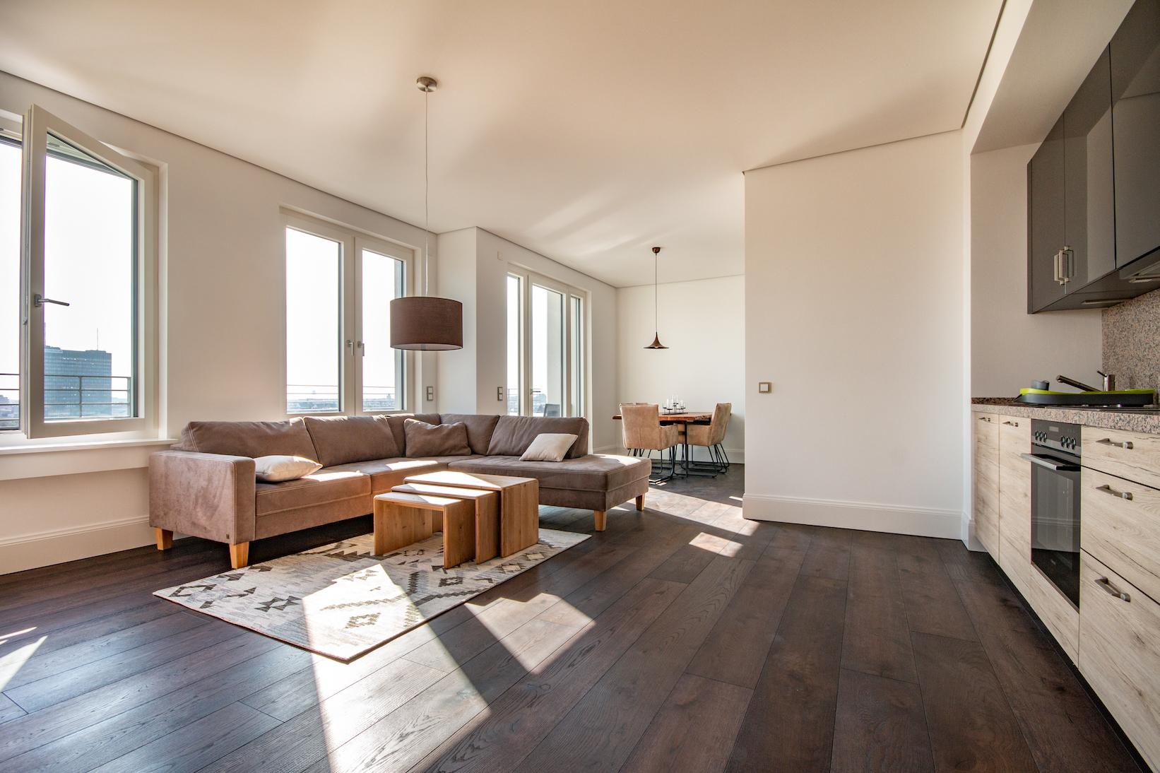 Cuisine Integree Dans Salon penthouse meublé au 11/12e étage - tiergarten - disponible